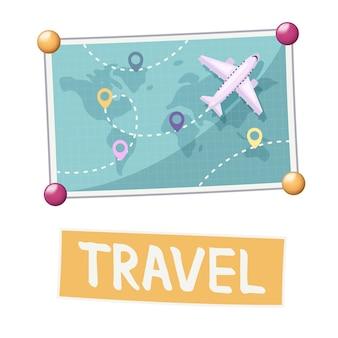 Composição do quadro de visão com mapa-múndi com avião e placas de localização
