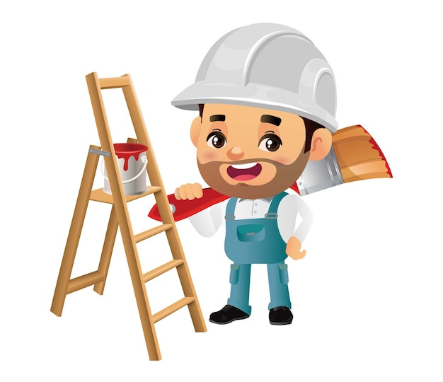 Composição do serviço de pintura com reparador