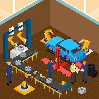 Composição do serviço de pneus de automóveis