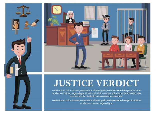 Composição do sistema judicial plana com advogado juiz júri réu policial mão na bíblia livro martelo escalas