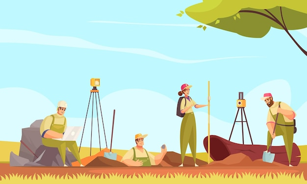 Composição do solo do geólogo com um grupo de personagens planas do doodle medindo o terreno de escavação em uma ilustração de cenário selvagem ao ar livre
