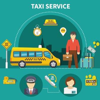 Composição do táxi para serviço de carro