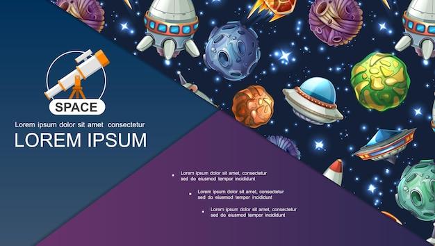 Composição do universo dos desenhos animados com estrelas de luz da nave espacial ufo, planetas de fantasia, asteróides e meteoros
