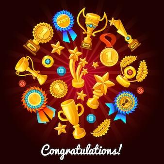 Composição dos troféus de ouro dos desenhos animados