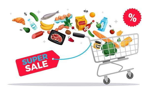 Composição ecológica de cesta zero para sacola de compras com etiqueta de texto com desconto em produtos voadores e ilustração de carrinho de carrinho