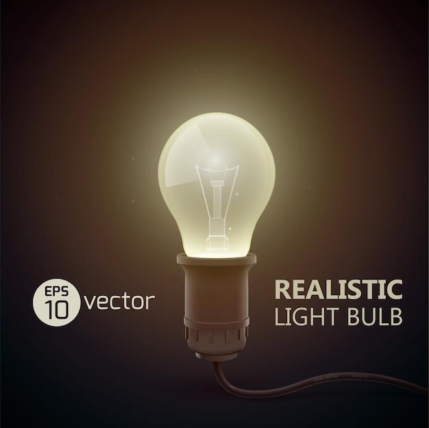 Composição elegante de lâmpada real com manchete bih light e luz no escuro