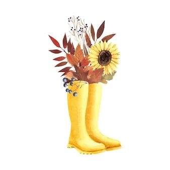Composição em aquarela com folhas e grãos. bouquet de outono com flores e botas de borracha amarelas.