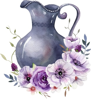 Composição em aquarela com frasco vintage, flores brancas e roxas, folhas.