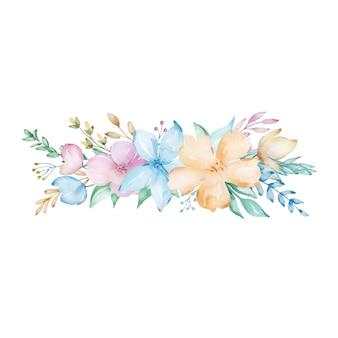 Composição em aquarela de um buquê de delicadas flores da primavera