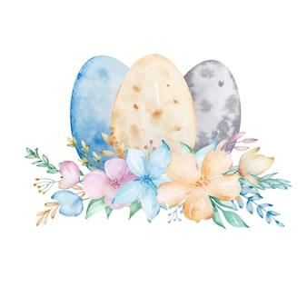 Composição em aquarela ovo de páscoa feliz com um buquê de flores botânicas