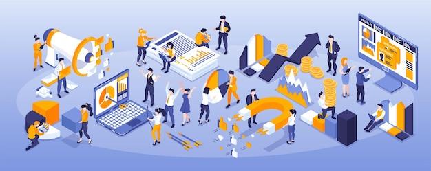 Composição estreita de estratégia de marketing isométrica com pessoas e elementos gráficos de diagrama com ímãs e computadores
