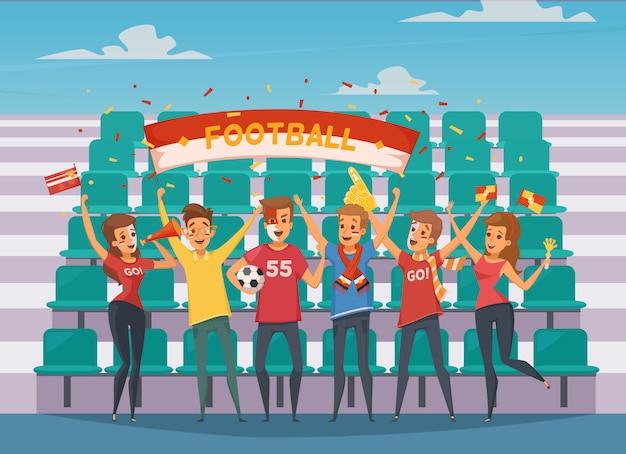 Composição fã fã colorido rooter com as pessoas que estão na frente das arquibancadas do campo de futebol