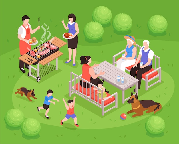 Composição familiar de geração isométrica com cenário de gramado ao ar livre e churrasco com pais, cachorros e crianças correndo