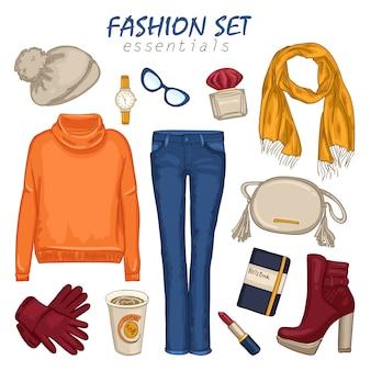 Composição feminina de roupas da moda