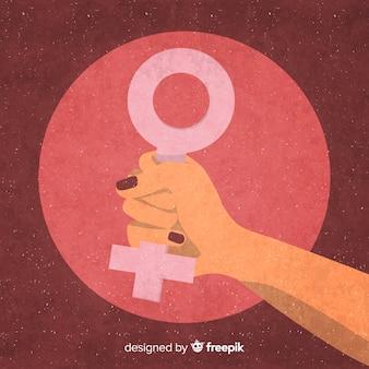 Composição feminista com punho de grunge