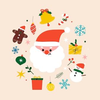 Composição festiva de natal com papai noel