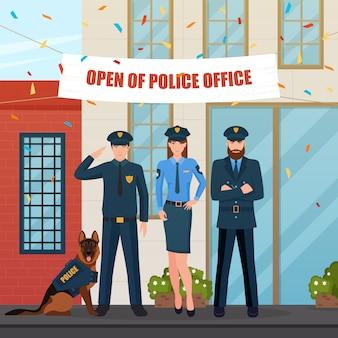 Composição festiva de pessoas de polícia