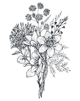 Composição floral. bouquet com flores de mão desenhada e plantas. ilustração monocromática no estilo de desenho.