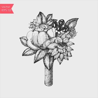 Composição floral. bouquet com flores de mão desenhada e plantas.