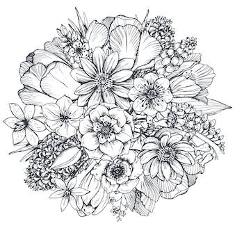 Composição floral. bouquet com flores e plantas da primavera mão desenhada.