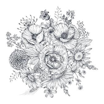 Composição floral. bouquet com flores e plantas desenhadas à mão. ilustração em vetor monocromática no estilo de desenho.