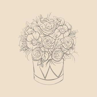 Composição floral. bouquet com mão desenhada flores e plantas na cesta. ilustrações monocromáticas em estilo de desenho.