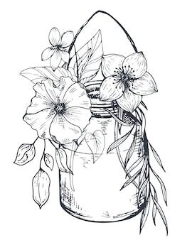 Composição floral. buquês com flores de mão desenhada e plantas na jarra. ilustração monocromática no estilo de desenho.
