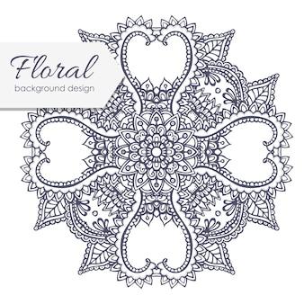 Composição floral com flor zentangle.