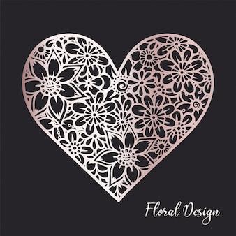 Composição floral coração.