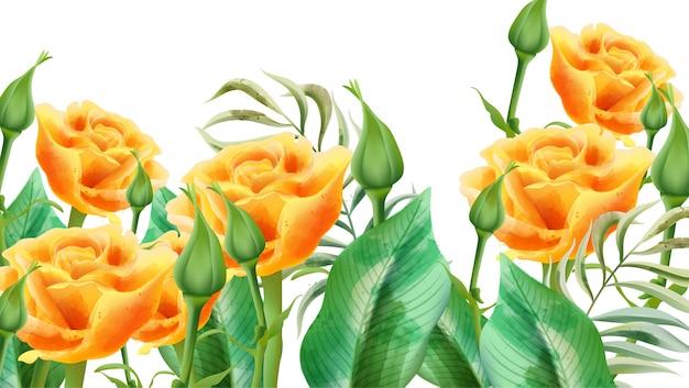 Composição floral de rosas amarelas, botões de rosa e folhas