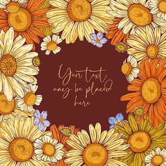 Composição floral do vetor para o cartão ou convite do banner do cartaz com área de texto