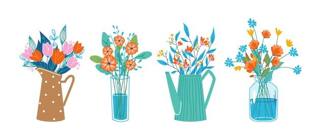 Composição floral em buquês, flores em flores em vasos decorativos e latas de água, copos.