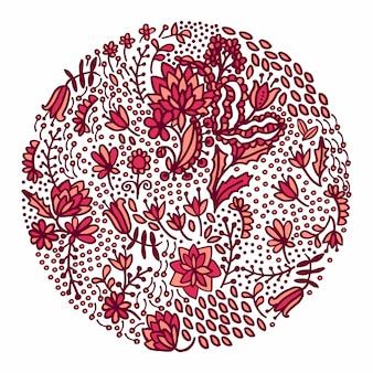 Composição floral redonda em cores cor-de-rosa vermelhas.