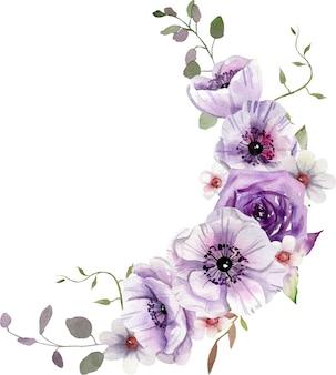 Composição floral roxa em aquarela no estilo boho