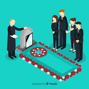 Composição fúnebre com vista isométrica