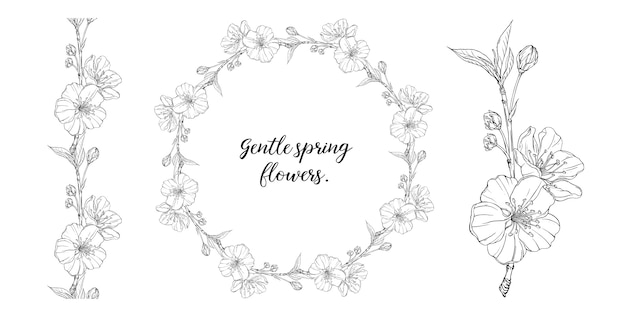 Composição gráfica floral com flores da primavera