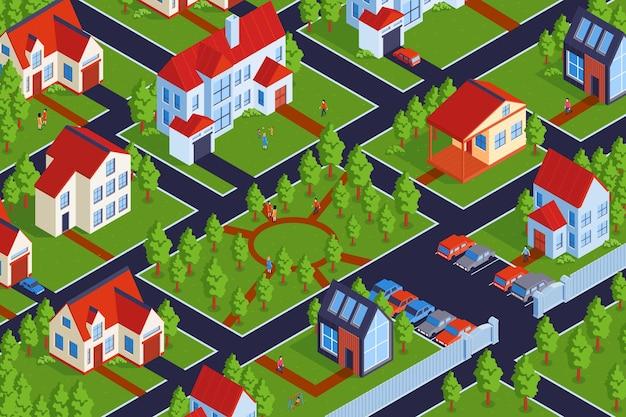 Composição horizontal isométrica de vilas privadas com vista externa do bairro e prédios residenciais baixos