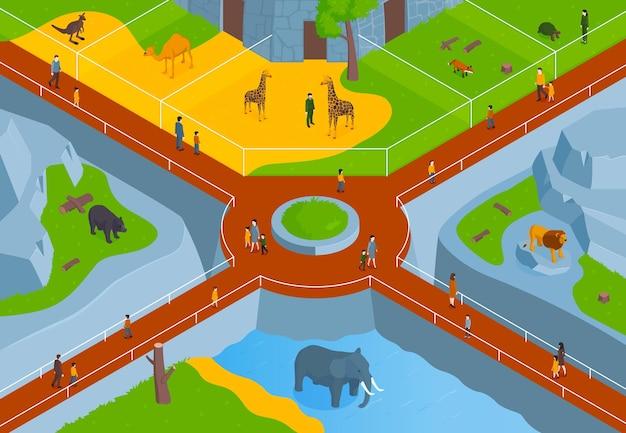 Composição horizontal isométrica do zoológico com vista panorâmica do parque zoológico com animais nas pistas e ilustração dos visitantes