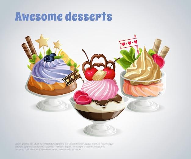 Composição impressionante de sobremesas