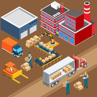 Composição industrial do armazém da fábrica