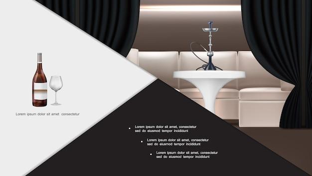 Composição interior de bar lounge com narguilé realista com shisha em pé na mesa, sofá, cortinas escuras, garrafa de vinho e copo