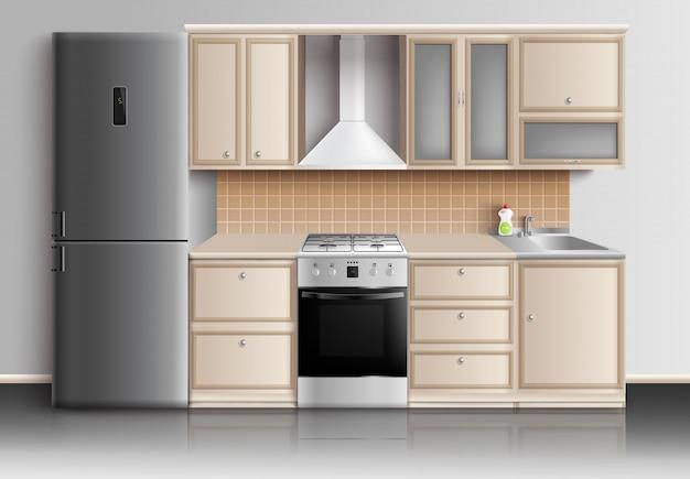 Composição interior de cozinha moderna