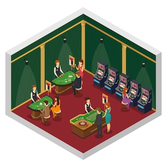 Composição interior isométrica de cassino colorido com duas paredes e piso vermelho com mesas de jogo e visitantes