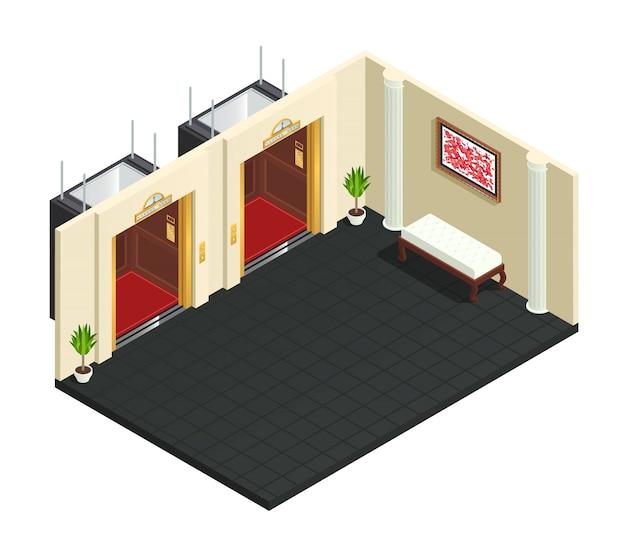 Composição interior isométrica de salão de elevador