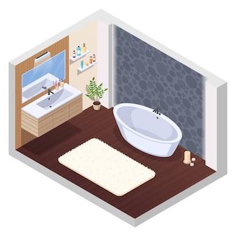 Composição interior isométrica do banheiro com jaccuzi banheira banheira parede telha espelho lavatório tapete de banho e velas ilustração vetorial