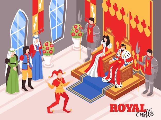 Composição interior isométrica do castelo real rei rei rainha com personagens de cortesãos e pessoas que carregam a coroa.