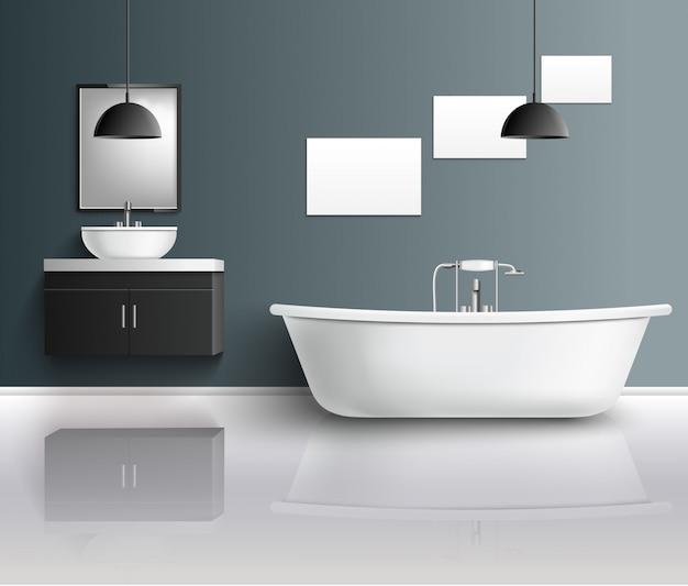 Composição interior realista de banheiro