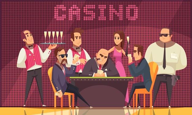 Composição interna do cassino com vista para a sala de jogos com personagens humanos do banqueiro de garçom de jogadores
