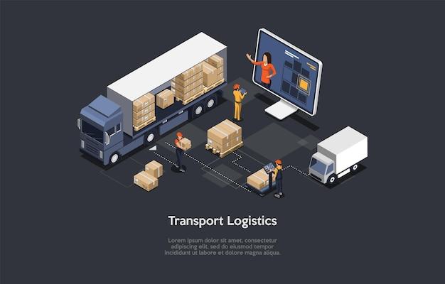 Composição isométrica 3d da logística de transporte no estilo desenho animado