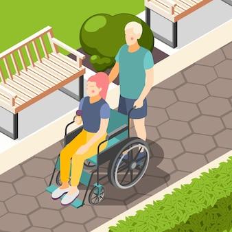 Composição isométrica ao ar livre para pessoas com deficiência com casal no parque da cidade, homem empurrando mulher em cadeira de rodas